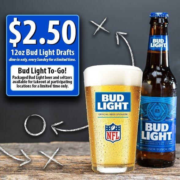 2.50 Bud Light Draft